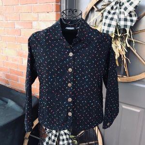 Women's Black Embroidered Vintage Jacket